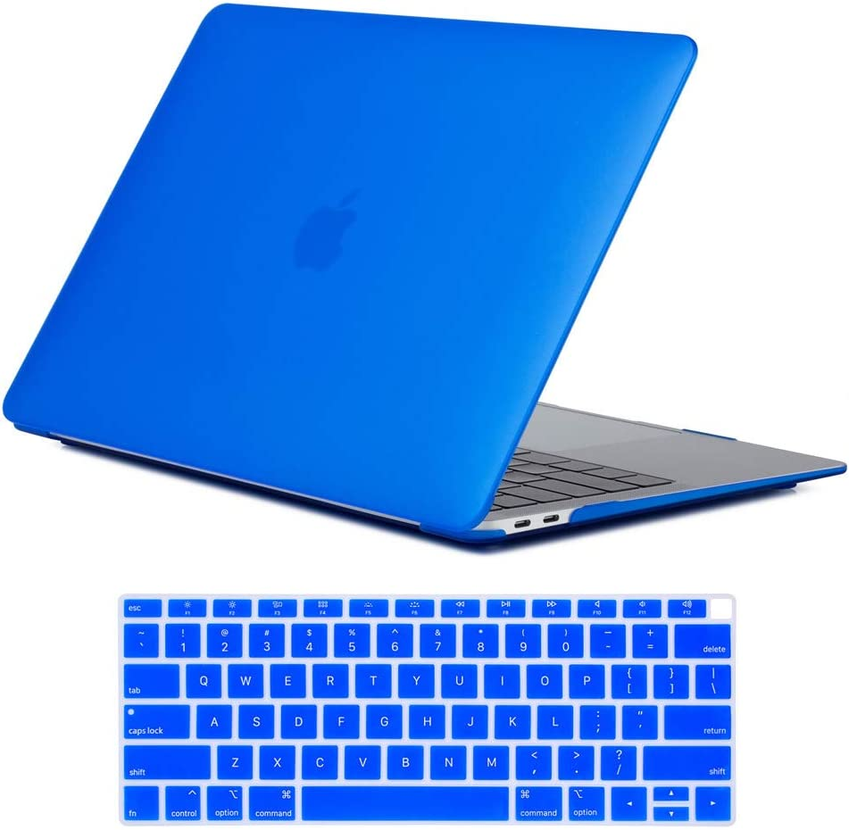 Se7enline New 2018/2019/2020 MacBook Air 13 Inch Case A1932/A2179 Smooth Plastic Hard Shell Case & Keyboard Cover for MacBook Air 13-Inch Retina Display with Touch ID Newest Version, Deep Blue