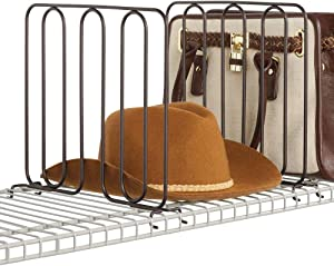mDesign Versatile Modern Metal Wire Closet Shelf Divider and Separator for Storage and Organization in Bedroom, Bathroom, Kitchen and Office - for Use on Wire Shelving - Easy Install, 2 Pack - Bronze