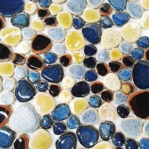 Glazed Blue Mosaic Ceramic Pebble Porcelain Tile Swimming Pool Bath Shower Wall Flooring Tile TSTGPT001 (4 x 6 Inches Sample)