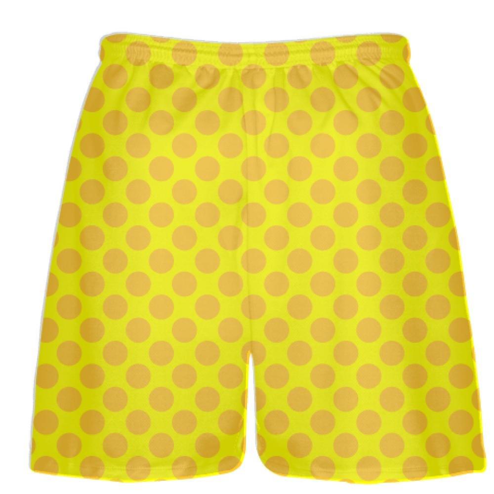 Polka Dot Lacrosse Shorts LightningWear Yellow Athletic Gold Polka Dot Shorts Athletic Shorts