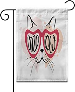 "Awowee 28""x40"" Garden Flag Red Heart Valentine Cat Lover Funny in Glasses Cheshire Outdoor Home Decor Double Sided Yard Flags Banner for Patio Lawn"
