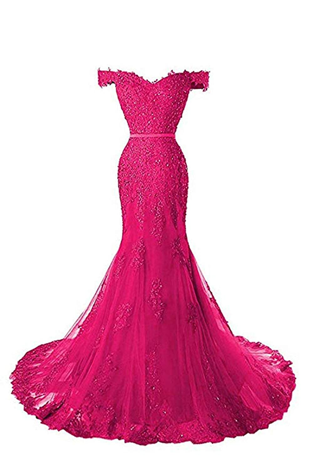 Fuchsia formalmall Women's Off The Shoulder Mermaid Prom Dresses 2019 Long Beaded Lace Applique Evening Gown