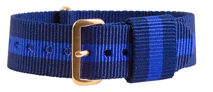 d297379586c 18mm Nato Rose Gold Nylon Loop Striped Navy Blue   Purple ...