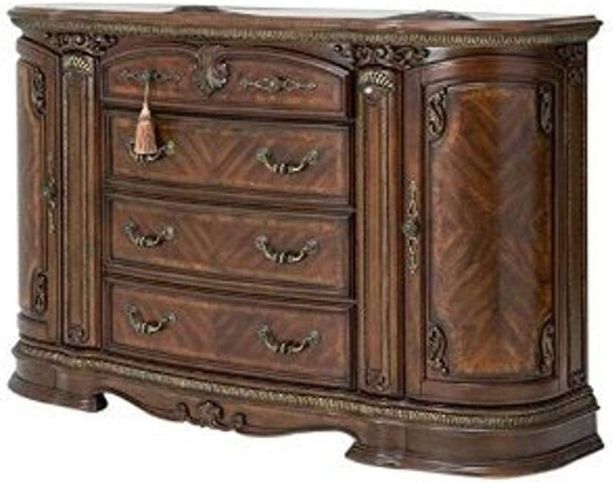 Michael Amini Bella Veneto Dresser and Mirror, Cognac