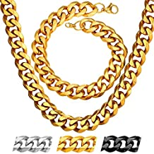 Cuban Chain Set 3mm-12mm Wide Stainless Steel Curb Link Bracelet Necklace Jewelry Men Chains Sets