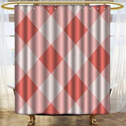 PRUNUSHOME Coral Decor Shower Curtain Vintage Peach Echo Geometrical Mosaic Diagonal Fractal Tartan Bands Figure Image