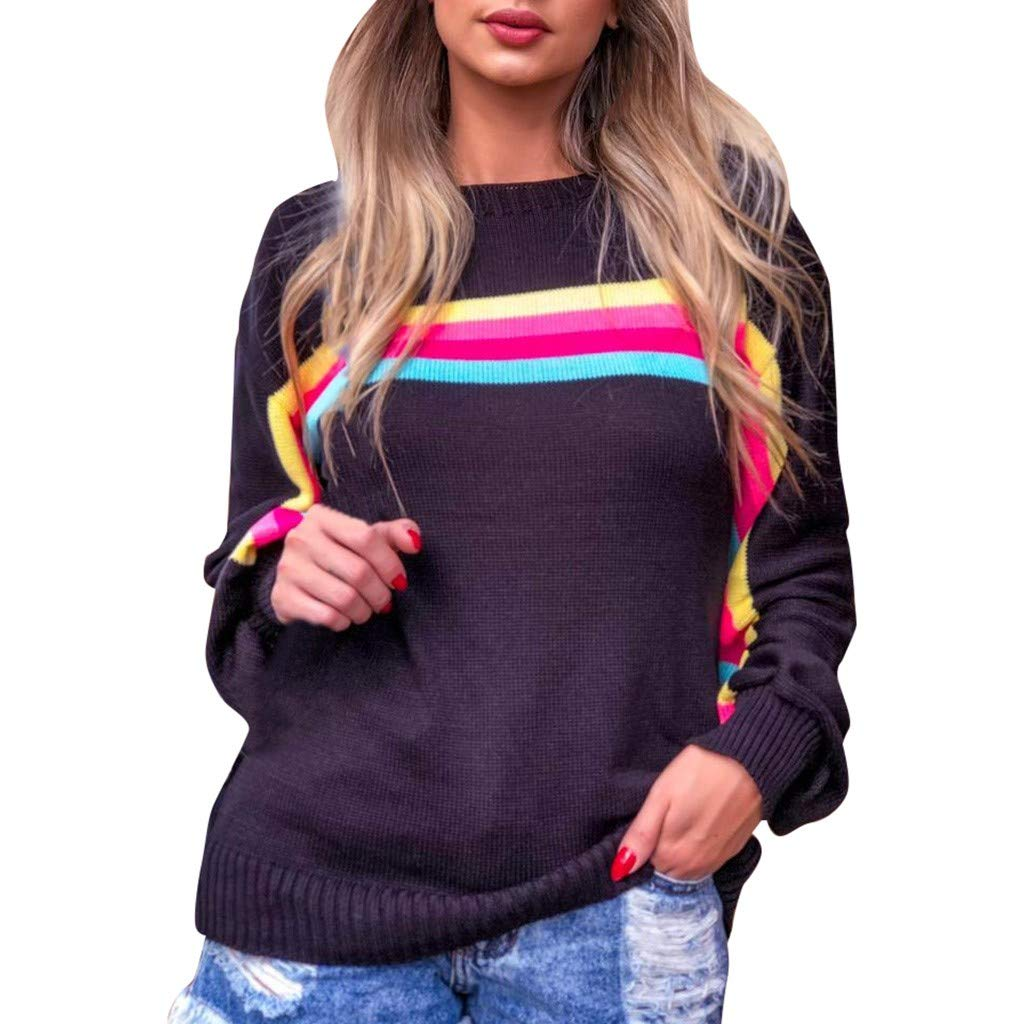 Women Rainbow Sweater Early Autumn Casual Knitwear O-Neck Stripe Long Sleeve Baggy Blouse Top Pullover