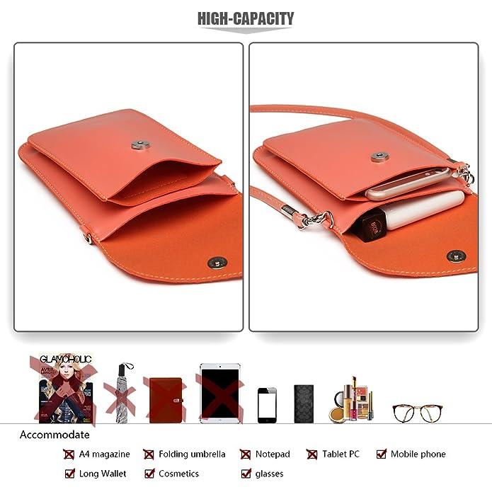 997b578738c17 Miss Lulu PU Leder Kleine Handytasche Schultertasche Mini Geldbörse Kleine  mit vielen Farben Clutch Ausgehtasche (E1805-Pink)  Amazon.de  Schuhe   ...