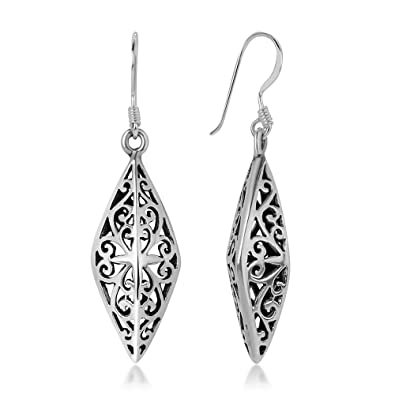 bbd3457c3 Amazon.com: 925 Sterling Silver Bali Inspired Open Filigree Puffed Marquise Dangle  Hook Earrings 1.6