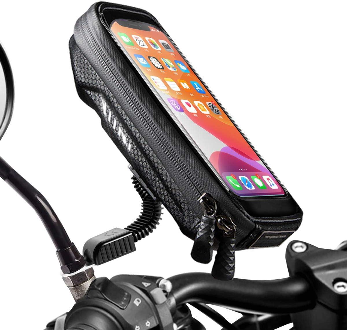 WACCET [Nueva Generación Soporte Movil Moto Impermeable Moto Smartphone Soporte con Cubierta de Lluvia Soporte Movil Scooter para Teléfonos Inteligentes de Menos de 6.5