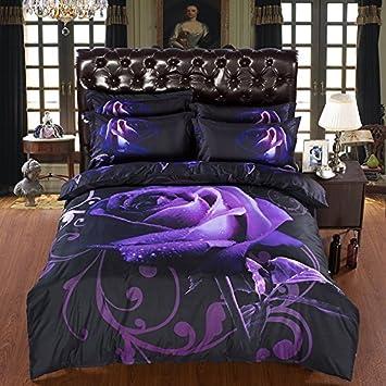 Bettwäsche 3d Violetten Rosen Blumen Wende Bettwäsche Tagesdecke