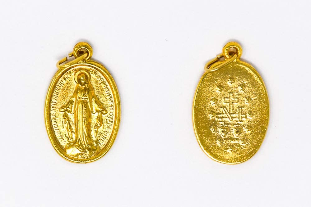 DIRECT FROM LOURDES Gold Miraculous Medal with The Traditional M and Hearts//Stars.