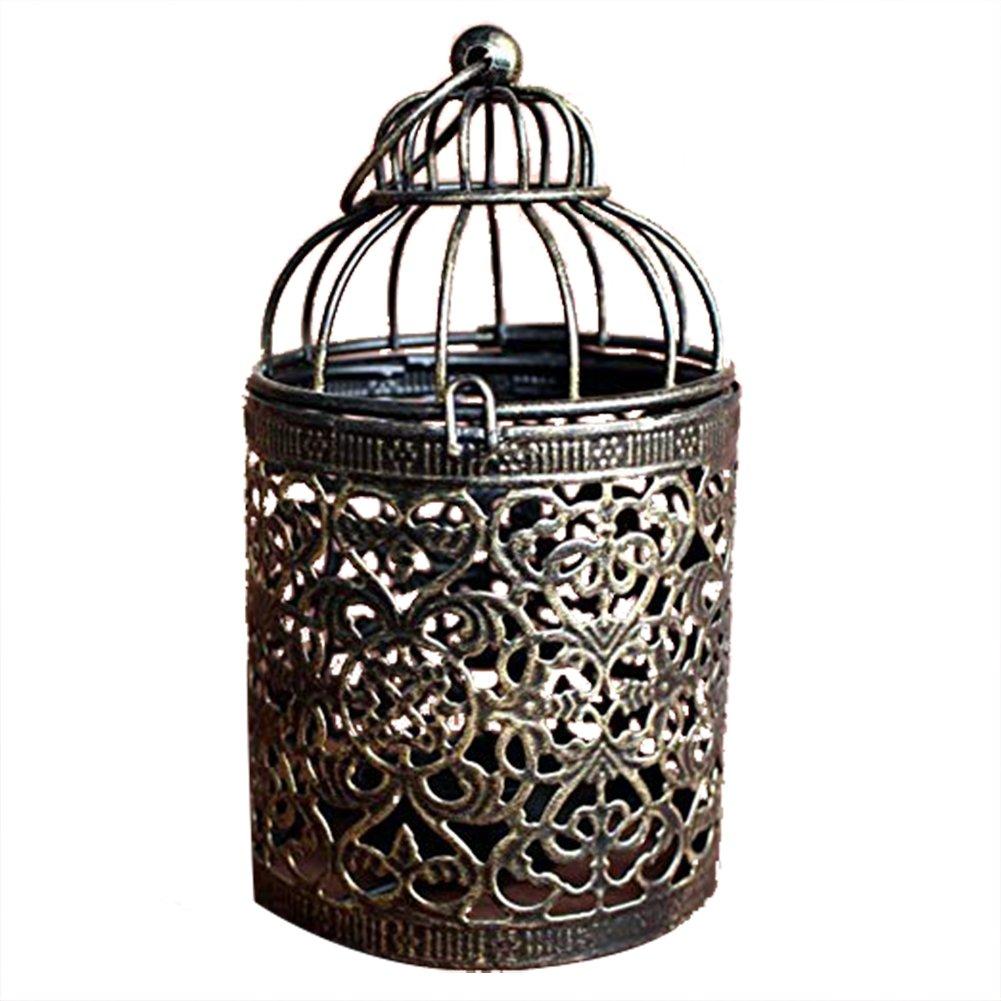 Oyfel Bougeoirs Exterieur Lanterne Solaire Chandelier Cré atif Cage d'Oiseau Argent Noiren Mé tal pour Mariage Maison Dé coration de Table 1Pcs