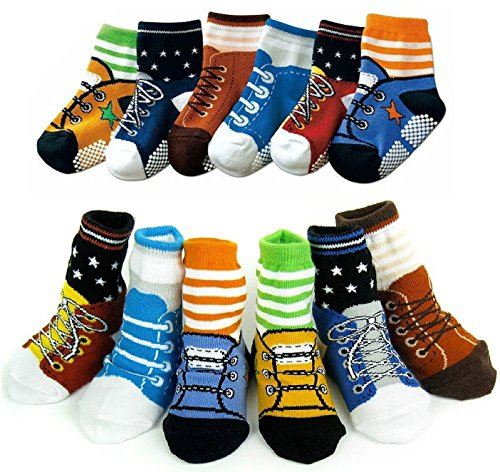 Toptim 6 Pairs Non-skid Socks ,Toddler Boy and Girl Shoe Socks for 6 - 24 Months (Boys)
