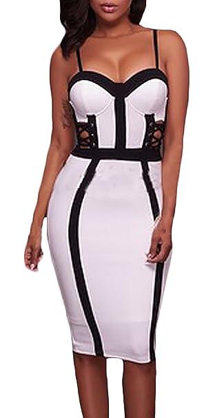 ... Vestido Verano Sling Sin Tirantes Espalda Descubierta Vestido Skinny Bandage Vestidos Hollow Moda Verein Nachtclubrock Vestido Mujer Fiesta Blanco ...