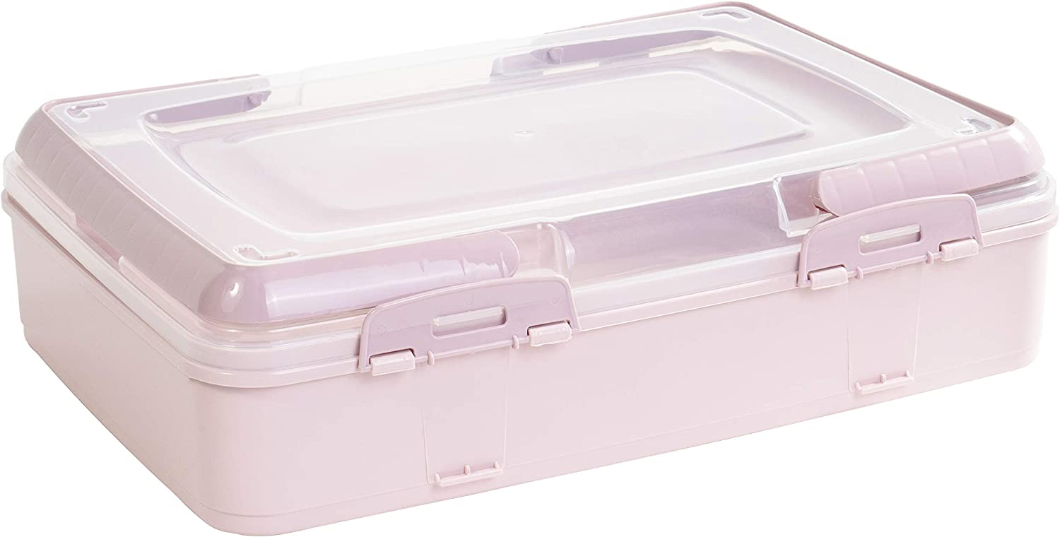 Red Co. Pink Rectangular Pastry and Pie Carrying Box Folding Handle Multi Purpose Food Storage with Lid- 16.5