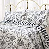 French King Size Bed Cozy Line Home Fashions French Medallion Black White Grey Rose Flower Pattern Printed 100% Cotton Bedding Quilt Set Reversible Coverlet Bedspread Gifts for Women Men (Black White, King - 3 Piece)