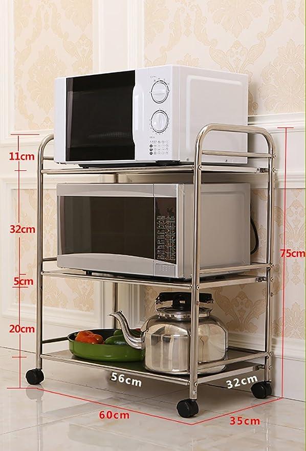HWF Estantes y soportes para ollas y sartenes Estante de la unidad del estante del almacenamiento de la cocina de 3 niveles Organizador del acero inoxidable ...