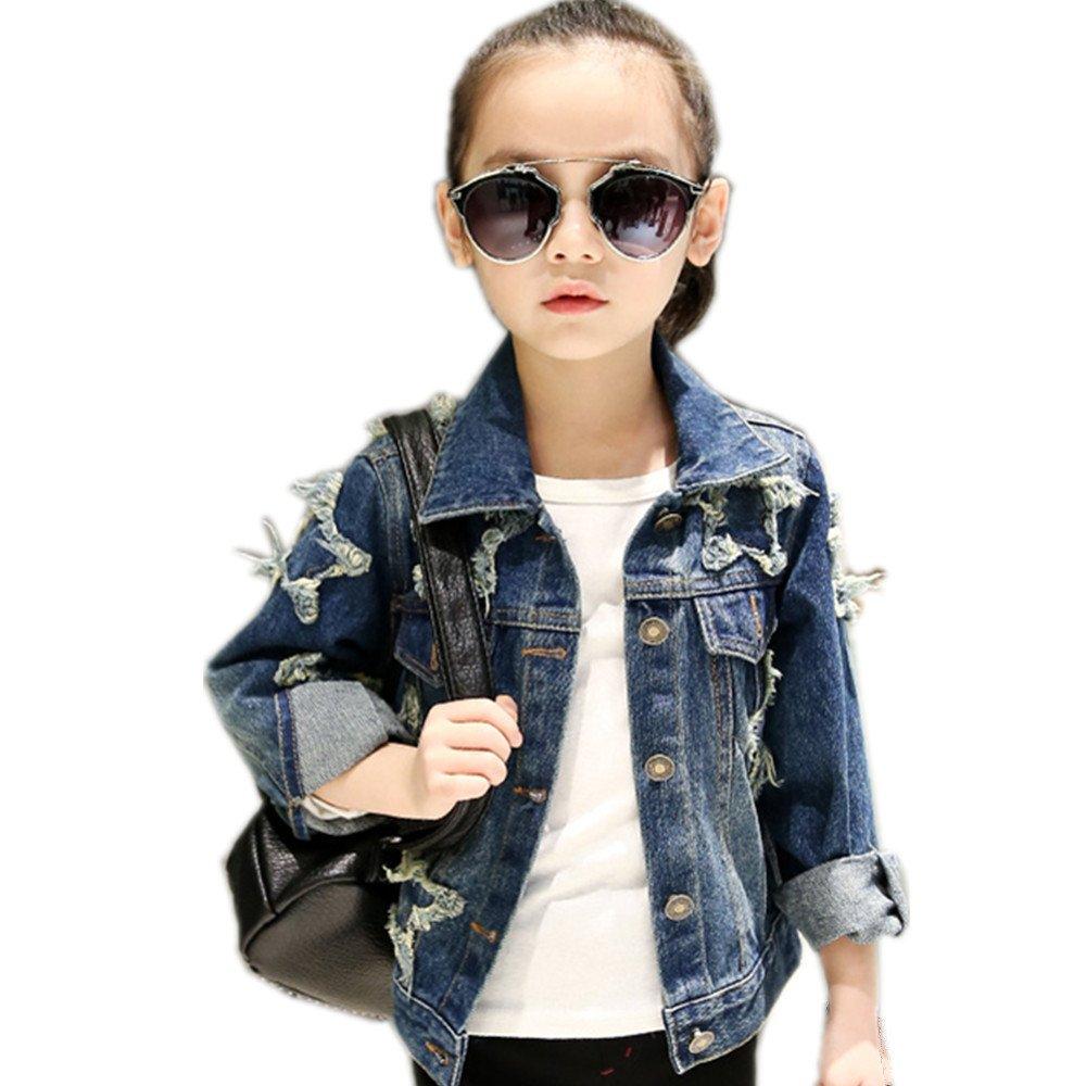 Star Flower Little Big Girls Denim Jackets Coats Outwear (14, Blue3)