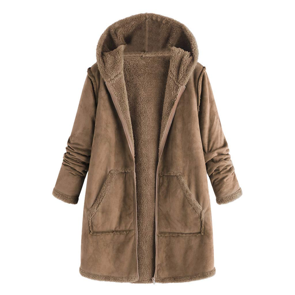 Coupondeal Women's Fashion Pocket Winter Plush Hooded Long Sleeve Warm Coat(Khaki,XL) by Coupondeal