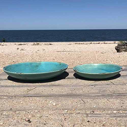 The Beach Chic Decorative Plates, Artisinal Design, Distressed Blue Turquoise, Crackled Glaze Over Terracotta, 14 and 10 Inch Diameter, By Whole House (Design Decorative Plate)