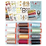 Flats by Angela Yosten Thread Kit 12wt 12 Large (356 yard) Spools Aurifil