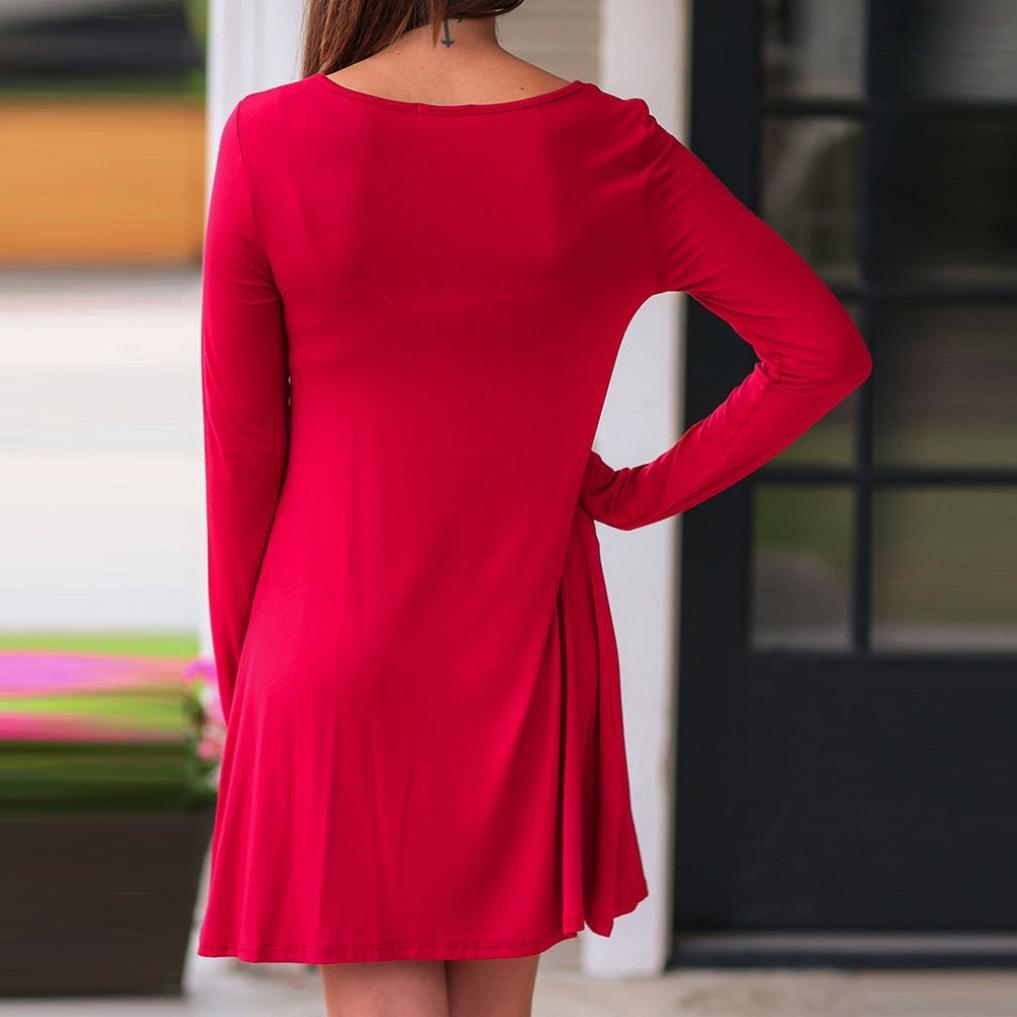 fb3fcc9ba6ff Swing Kleid Minikleid,Weihnachten Drucken Lässiges Mode Kleider  Weihnachtskleid Damen Christmas RundhalsKleider Pullover Frauen Bluse Lange  ...
