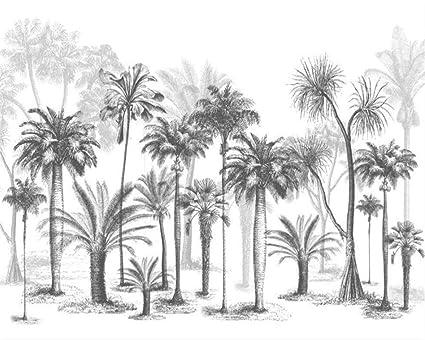 Carta Da Parati Tropicale Bianco E Nero.Carta Da Parati Personalizzata Murale In Bianco E Nero Schizzo