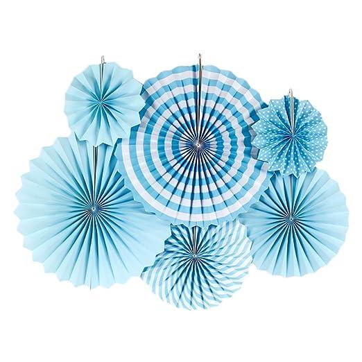 Weanty - 6 abanicos de papel para colgar, diseño de flores ...