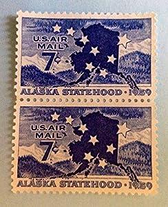 1950 Airmail US 7 Cent Stamp Alaska Statehood C53