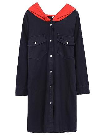 609d8430ebb9 Gihuo Women s Mid Long Oversized Loose Boyfriend Denim Jacket Hooded Jean  Jacket (Black