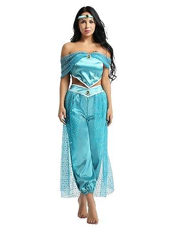 9dd34c9e339 Agoky Women s Gilrs Belly Dancer Genie Princess Jasmine Aladdin Arabian  Adult Fancy Dress Up Party Halloween