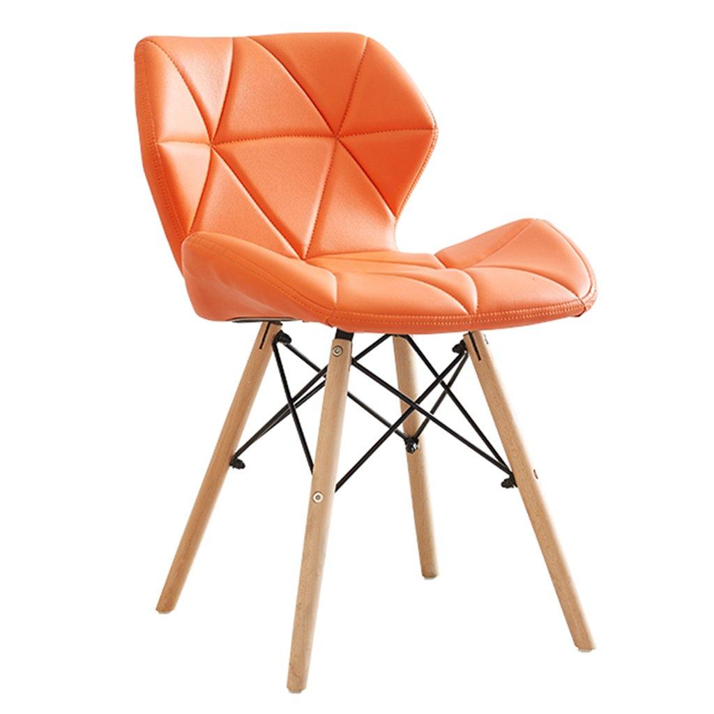 茶色のダイニングチェアレザークッション付きの自然なソリッドウッドの脚オフィスラウンジのベッドルームリビングルームの現代デザイナー (色 : オレンジ, サイズ さいず : Set of 2) B07DFWC7TMオレンジ Set of 2