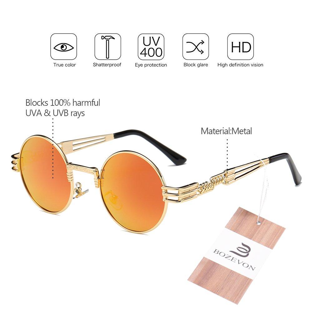 66c89d22a7 BOZEVON Estilo retro de Steampunk inspiró las gafas de sol redondas del  círculo del metal para las mujeres y los hombres, Dorado-Amarillo espejo:  Amazon.es: ...