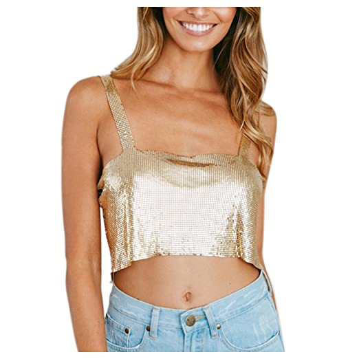 Inkach Halter Crop Tops ❤ Sexy Womens Shiny Tank Tops ❤ Summer Sleeveless  Blouse