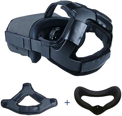 NiceCoolOculusQuestフェイスカバーマスク&ヘッドバンド、ヘッドストラップフォームパッド、PUレザースリップ防止重量軽減、OculusQuestVRヘッドセットアクセサリー(ブラック)