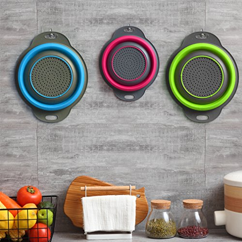Qimh Collapsible Colander Set of 3 Round Silicone Kitchen Strainer Set - 2 pcs 4 Quart and 1 pcs 2 Quart- Perfect for Draining Pasta, Vegetable and fruit (green,blue, purple) by QiMH (Image #3)