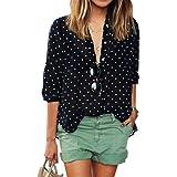 WLLW Women's Botton Down V Neck Long Sleeve Polka Dot Print Blouse Top Shirt Tee