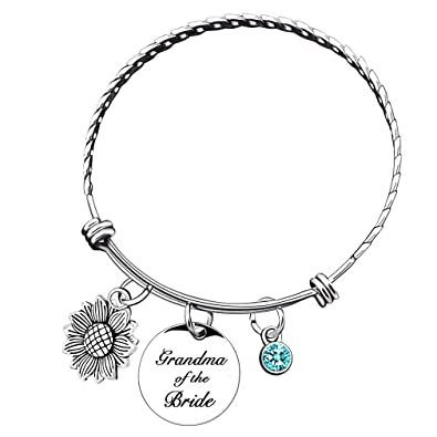 9373daf4d6d0a Sunflower Bracelet Bangle Personalized Birthstone Mother of The Bride Groom  Gift Initial Silver Bangle