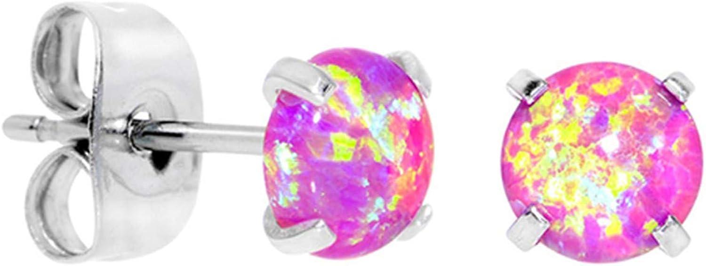 Aroncent Pendientes de Ópalo Brillantes Aretes Pequeño para Mujer Hombre Unisex Aretes Lujos Elegantes con Aguja de Oreja de 316L Acero Inoxidable Earings Hipoalergénico con Perla Circón Redondo 3 mm