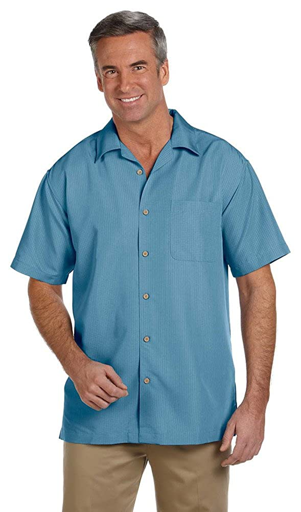 Harriton Mens Barbados Textured Camp Shirt Medium CLOUD BLUE