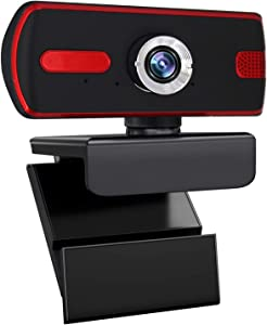 POUMANNI Webcam with Microphone,Full HD 1080P Live Streaming Webcam Auto Focus Plug and Play USB Computer Camera for Laptop/PC/Mac,Online Studying/Video Calling/Conferencing