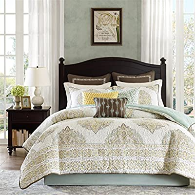 "Harbor House Miramar 4-Piece Comforter Set, King, Multicolor - Set includes: 1 comforter, 2 king shams, 1 bed skirt Comforter & sham face: 100% cotton printed with quilting; reverse: 100% cotton solid Measurements: 110-by-96-inch comforter, 20-by-36-inch king shams, 78-by-80-inch bed skirt with 15"" drop - comforter-sets, bedroom-sheets-comforters, bedroom - 61hPlzPOjrL. SS400  -"