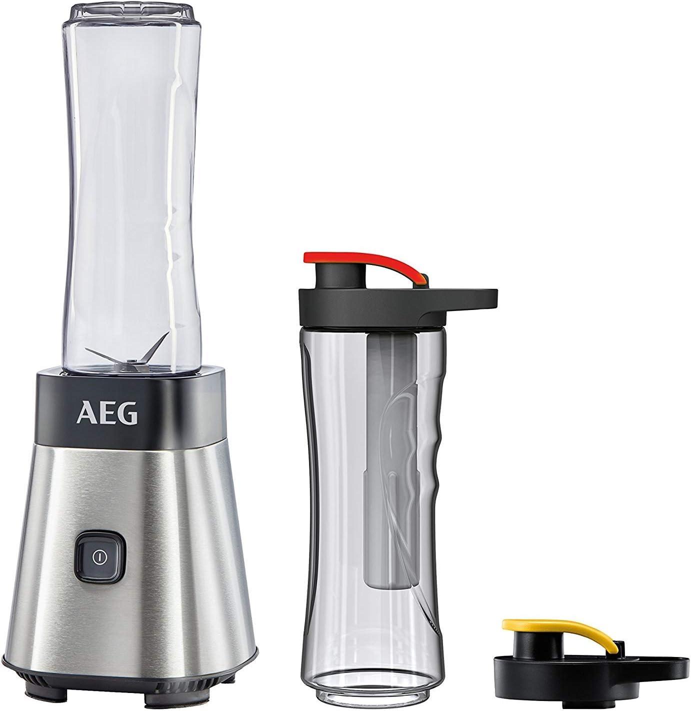 AEG SB2700 Batidora de Vaso Good To Go (300W, Modo Turbo, Cuchilla de 4 Hojas, 2 Botellas de 0.6L con Tapa, Apta Lavavajillas, Resistente al Frio y Calor, Incluye Tubo Refrigerante, 80dB, Blanco)