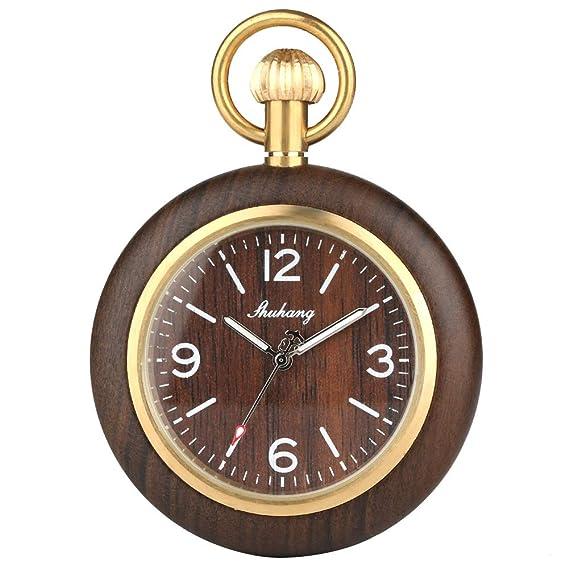 Reloj de Bolsillo de Cuarzo de Madera de bambú para Hombres y Mujeres, números Romanos, Relojes de Bolsillo con Cadena, Hijo Padre: Amazon.es: Relojes