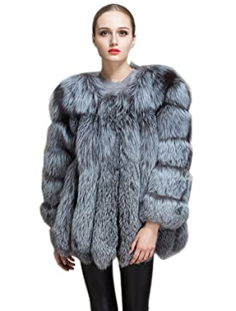f53f0f821 YR Lover New Women's Winter Whole Skin Silver Fox Fur Coat for Female US4