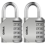 ORIA Combination Lock, 4 Digit Combination Padlock Set, Metal and Plated Steel Material for School, Employee, Gym Or…