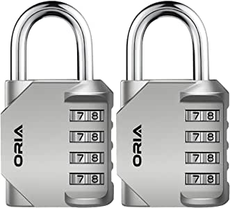 ORIA Combination Lock, 4 Digit Combination Padlock Set, Metal and Plated Steel Material for School, Employee, Gym Or Sports Locker, Case, Toolbox, Hasp Cabinet and Storage, Pack of 2