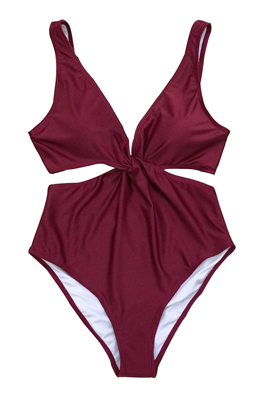 abcb5695371 CUPSHE Women's Maroon Twist Back Tie One-Piece Swimsuit with Cutout