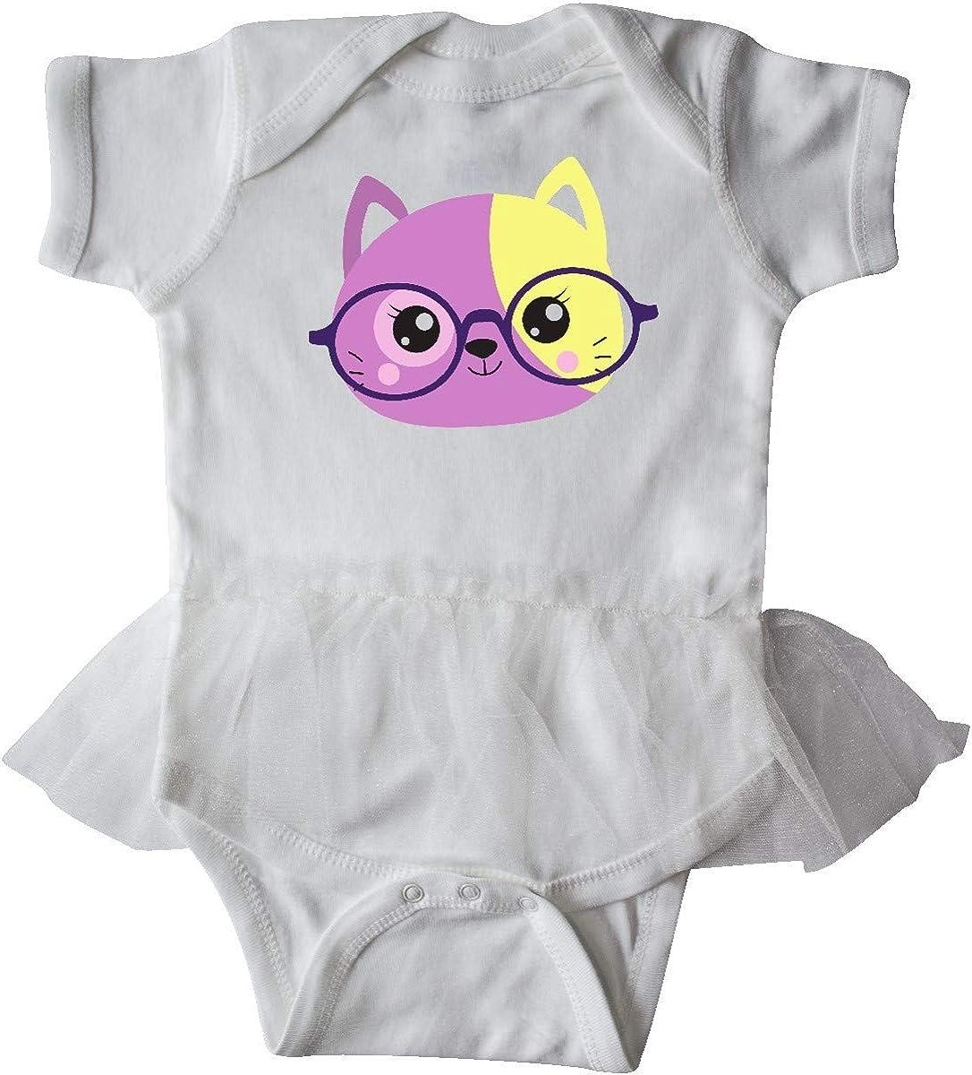 inktastic Hipster Cat Cat with Glasses Purple Cat Infant Tutu Bodysuit
